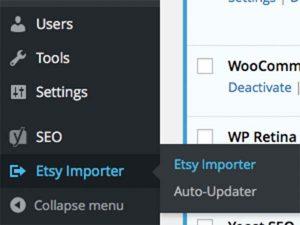 The new Etsy Importer menu item.
