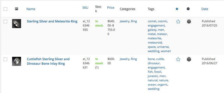 Imported Etsy Listings in WooCommerce