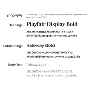 Example of how Typography is defined in a Style Guide