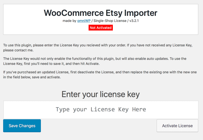 The Woocommerce Etsy Importer Plugin License Screen