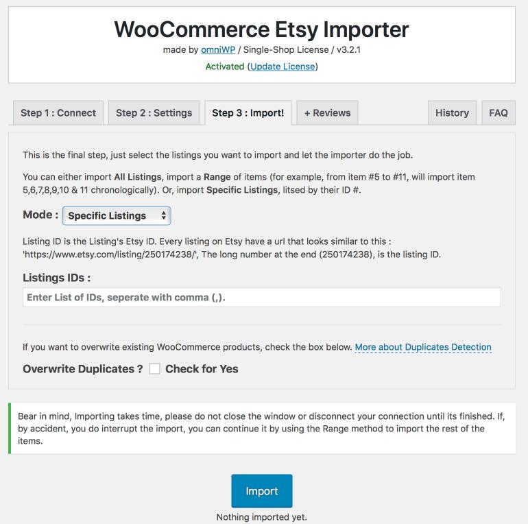 Woocommerce Etsy Importer Plugin Import Settings