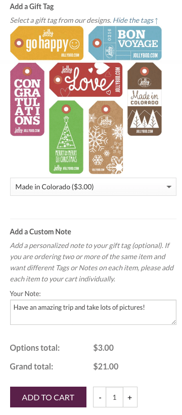Custom WooCommerce development: The UI for adding a Gift Tag and Custom Note to a Product