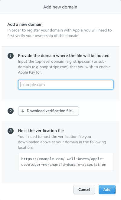 Adding an Apple Pay Authenticated Domain in Stripe