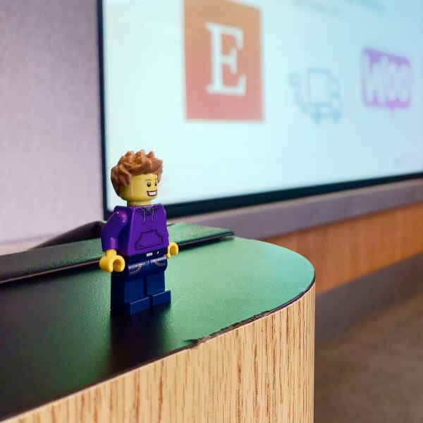 A lego version of Jeff Daigle at Jeff's WooConf 2017 talk.